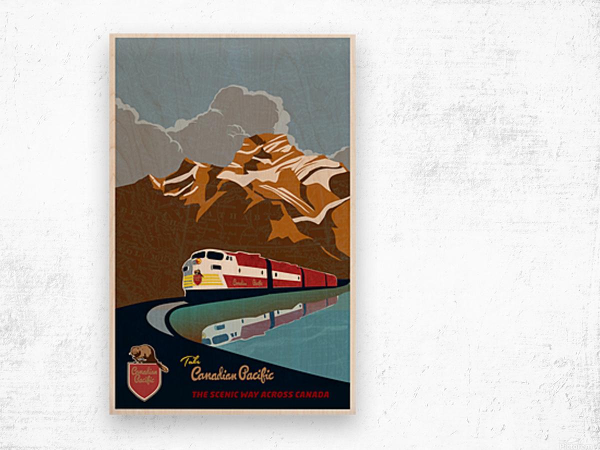 Retro CP rail travel poster Wood print