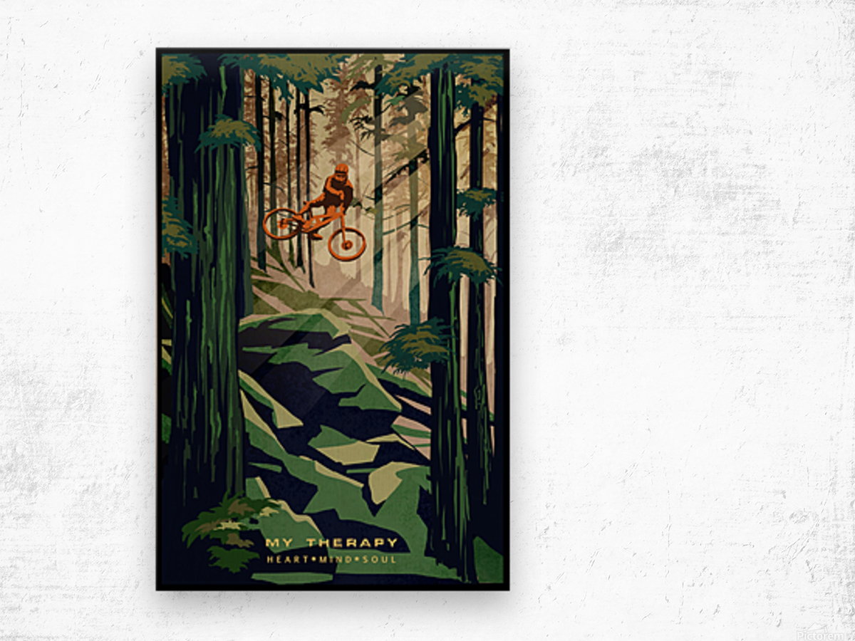 My Therapy retro Mountain biking art  Wood print