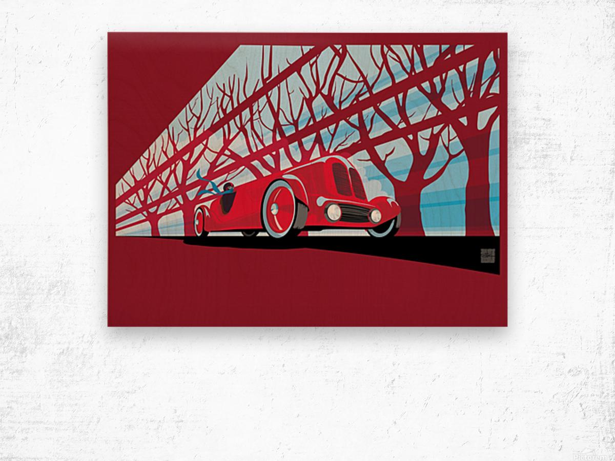 Vintage auto racer Impression sur bois