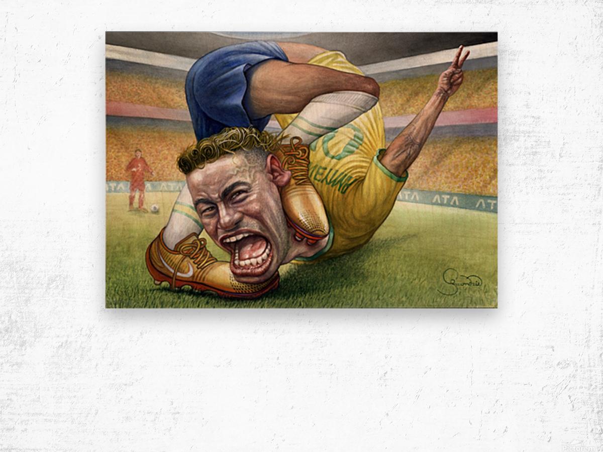 Neymar by Krzysztof Grzondziel Wood print