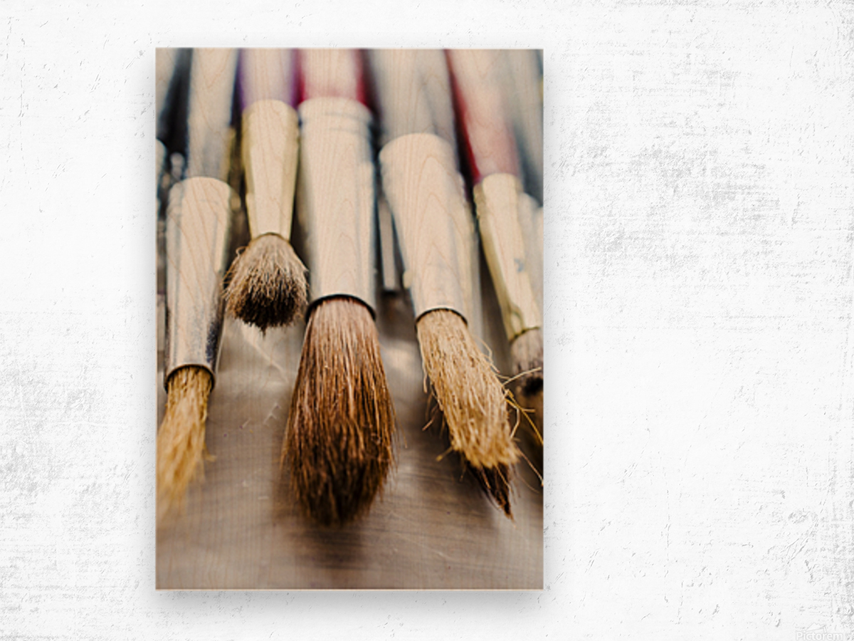 The Artists Brushes Wood print