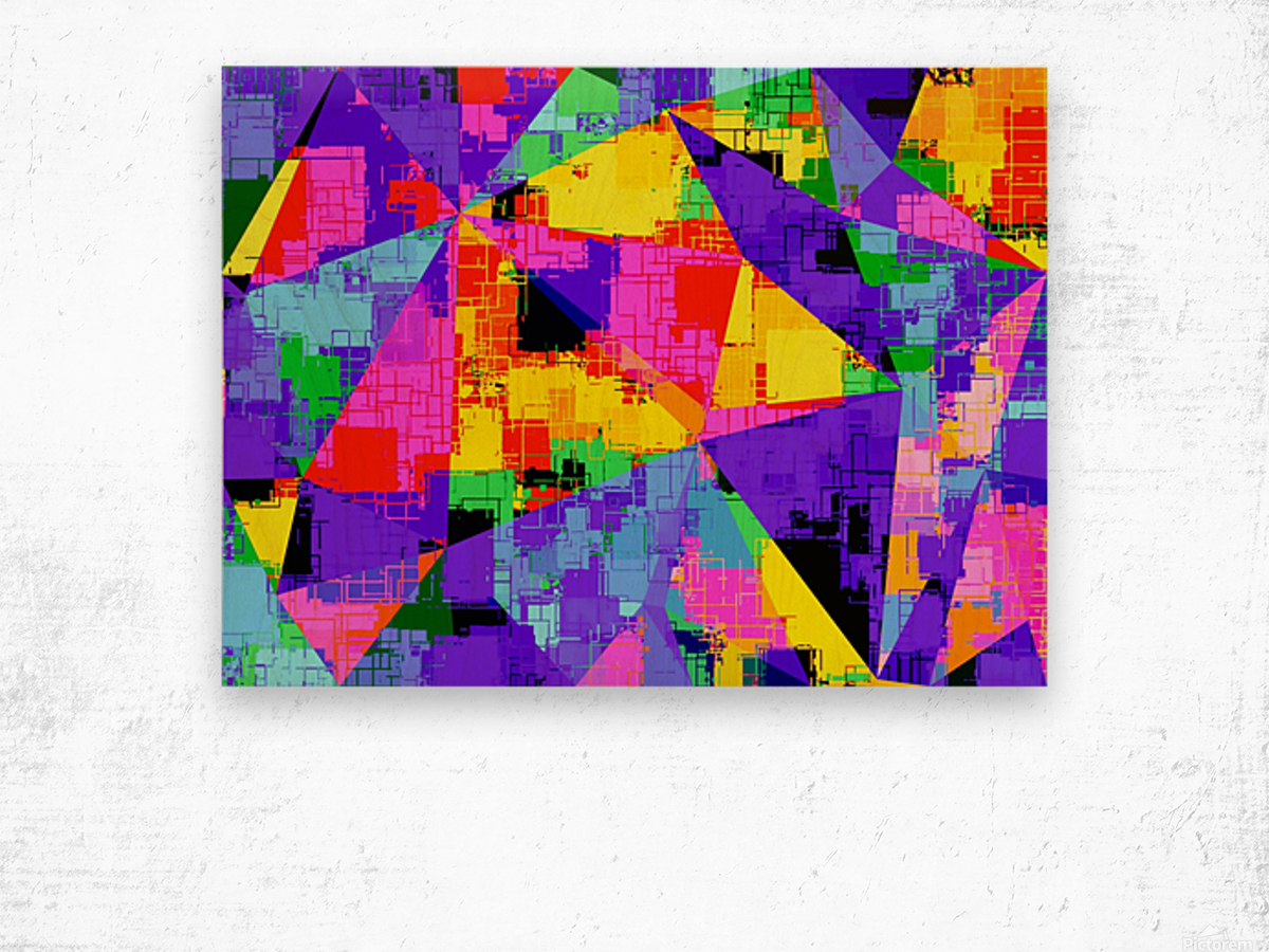 geometric triangle abstract background in purple blue pink yellow Wood print