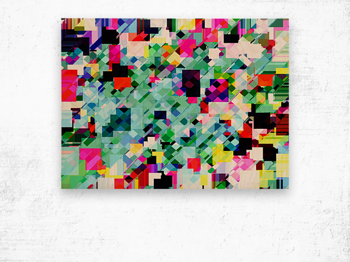 geometric square pixel pattern abstract in green pink blue yellow Wood print