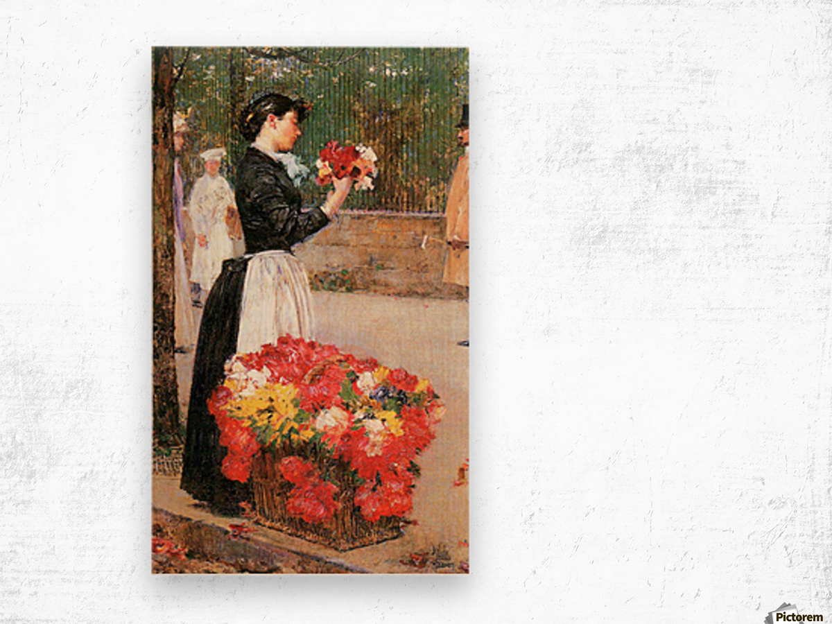 Flower girl by Hassam Wood print