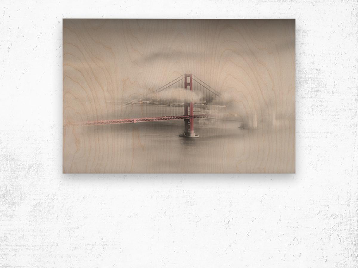 Foggy Golden Gate Bridge   colorkey Wood print