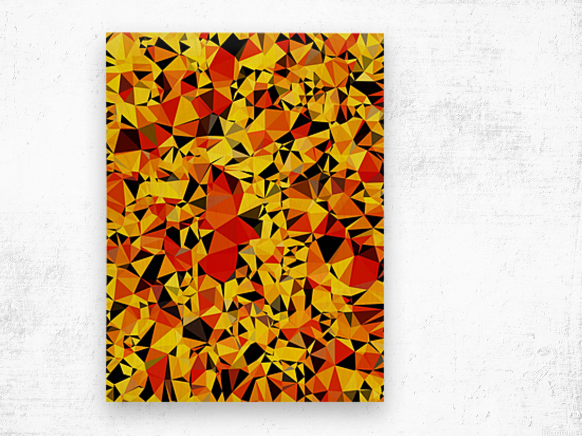 geometric triangle pattern abstract in orange yellow red Wood print