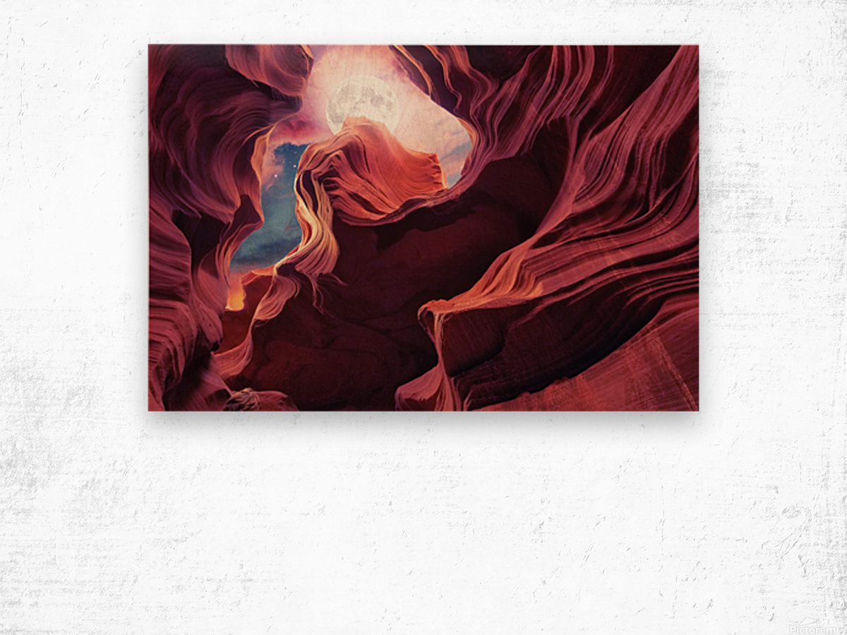Grand Canyon with Space & Full Moon Collage II Wood print