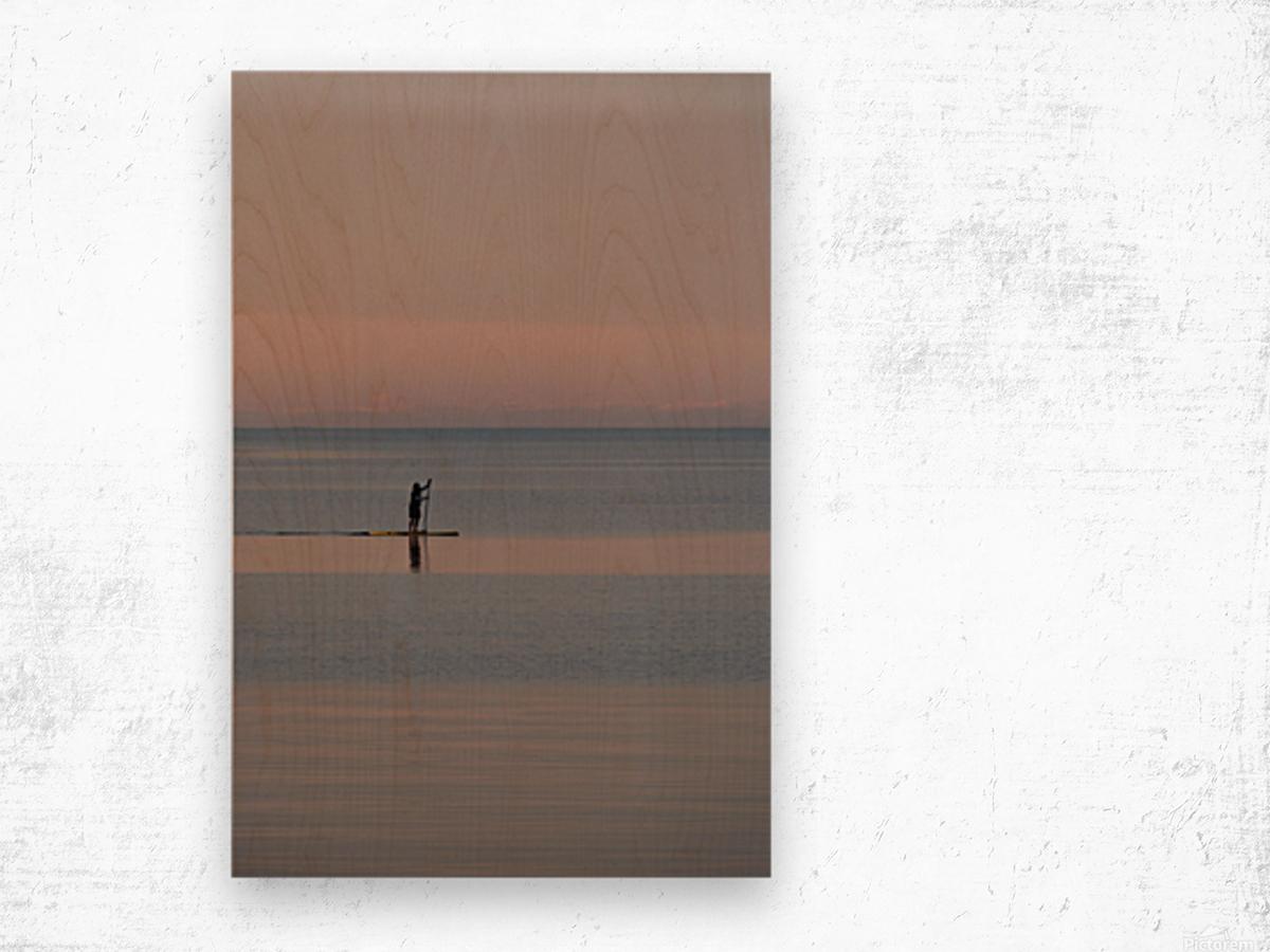 Evening paddleboarder Impression sur bois