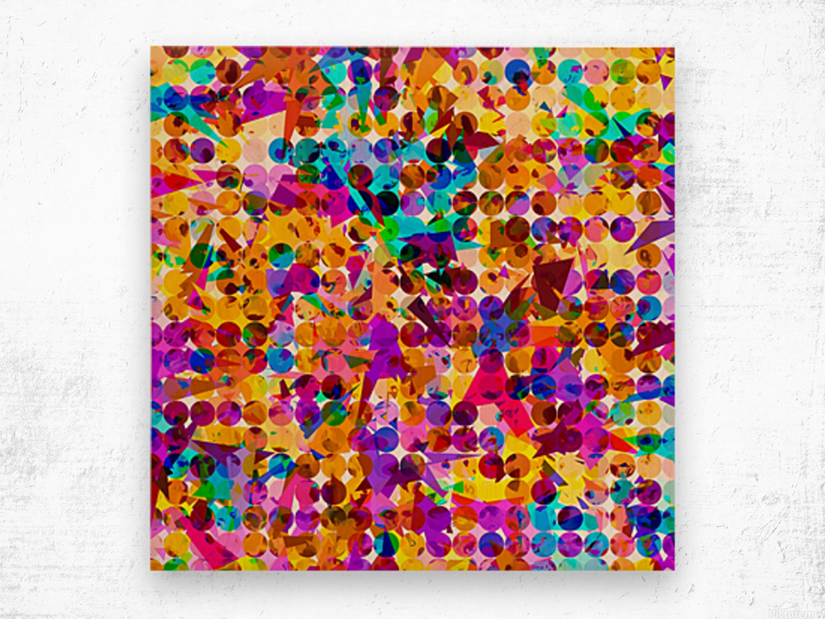 geometric circle and triangle pattern abstract in orange blue pink purple Wood print