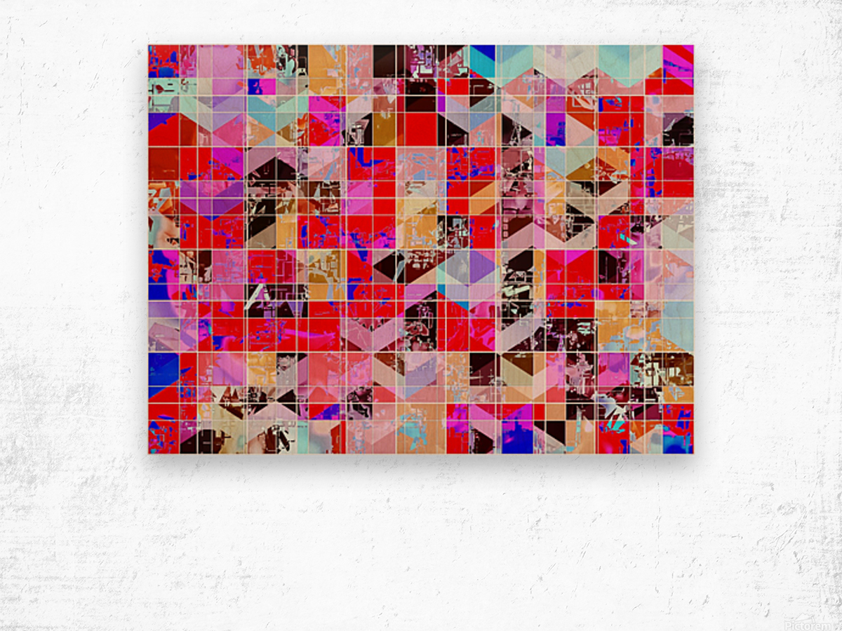 geometric square and triangle pattern abstract in red pink blue Wood print