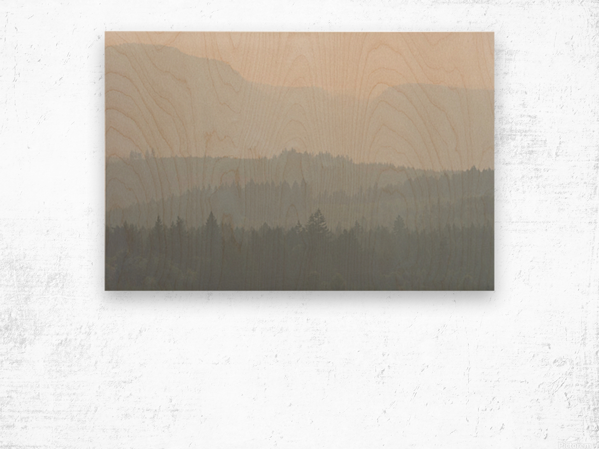 Hills of haze Impression sur bois