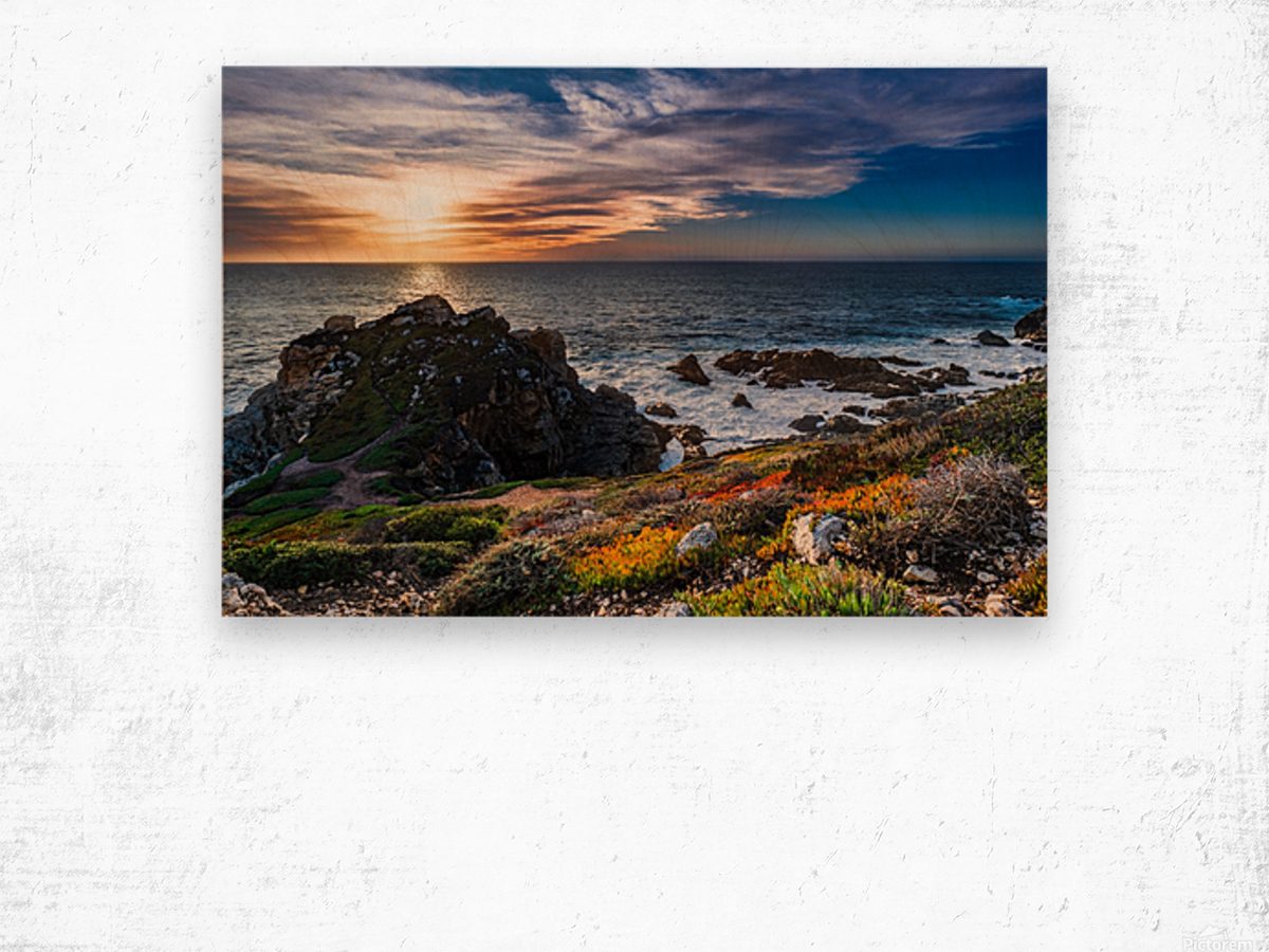 sea, seashore, water, nature, sky, blue, summer, landscape, colorful, clouds, sunset, outdoor, Wood print