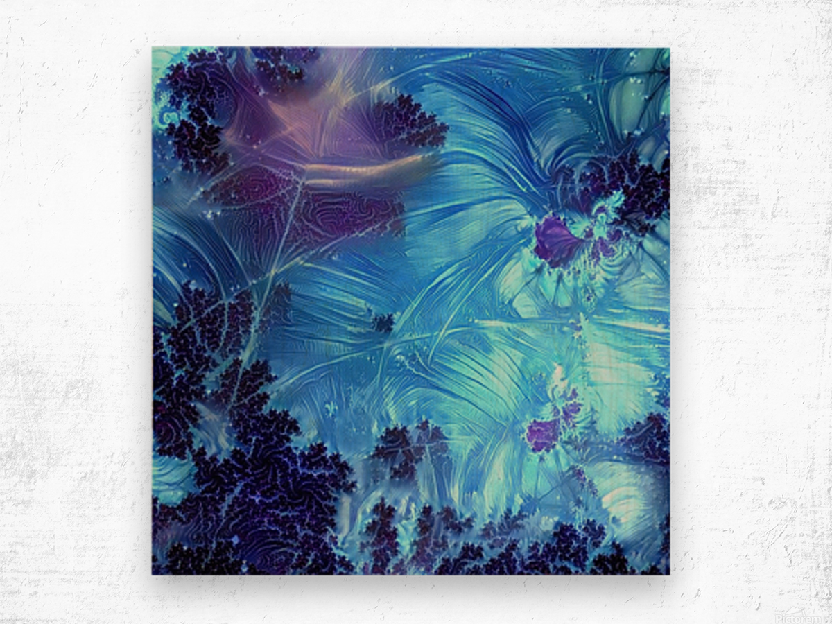 Abstract Blue Colors Wood print