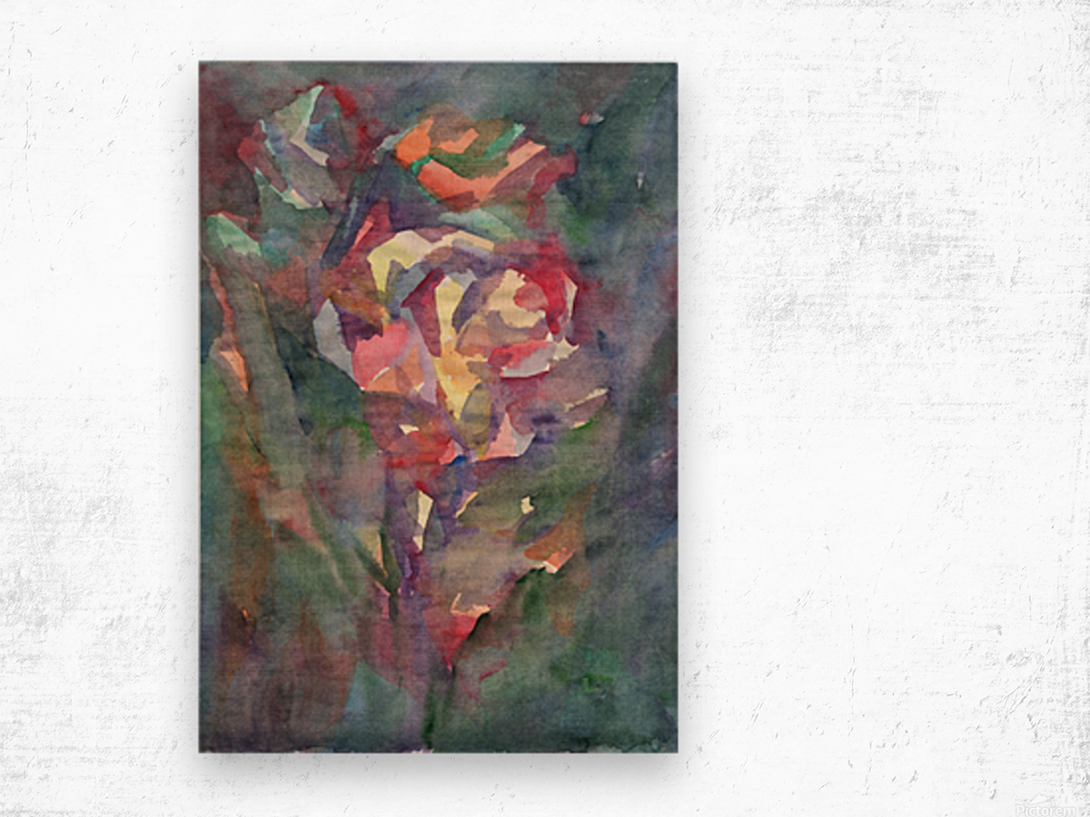 Rose blooming in the night Wood print