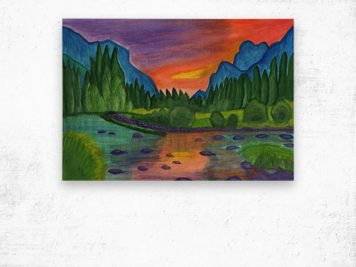 Mountain river in the background of the forest and the blue mountains at sunset Wood print