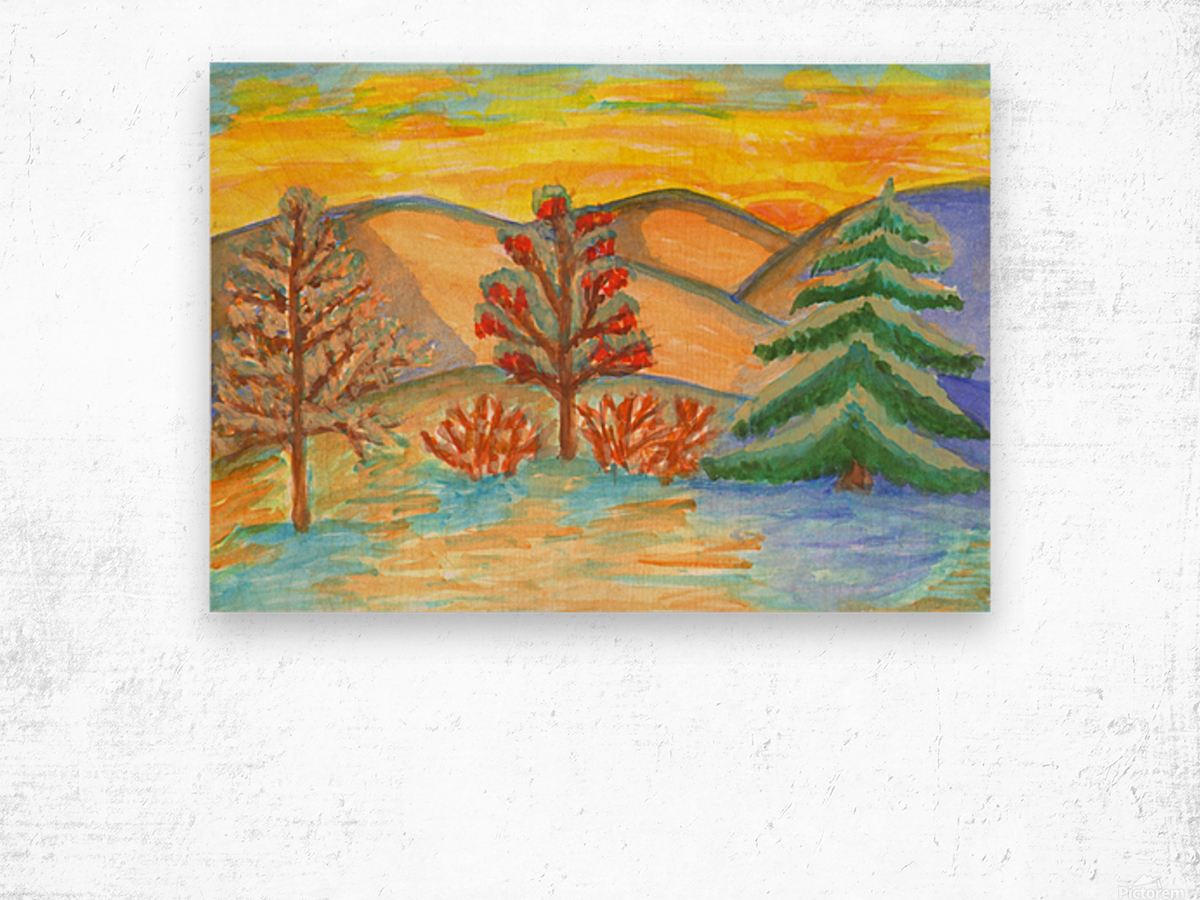 Winter landscape at sunset Wood print