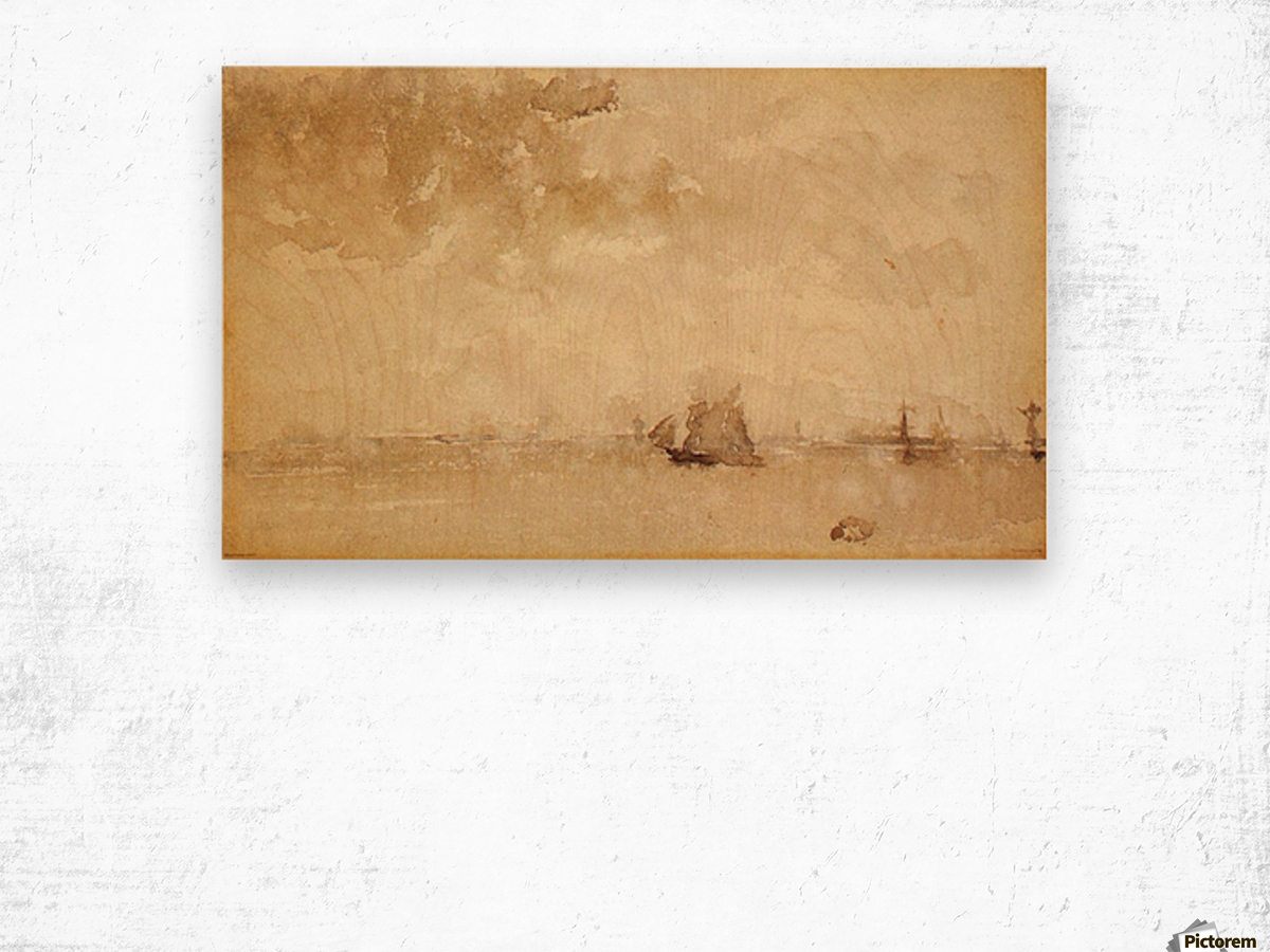 Seascape, a grey note by Whistler Wood print