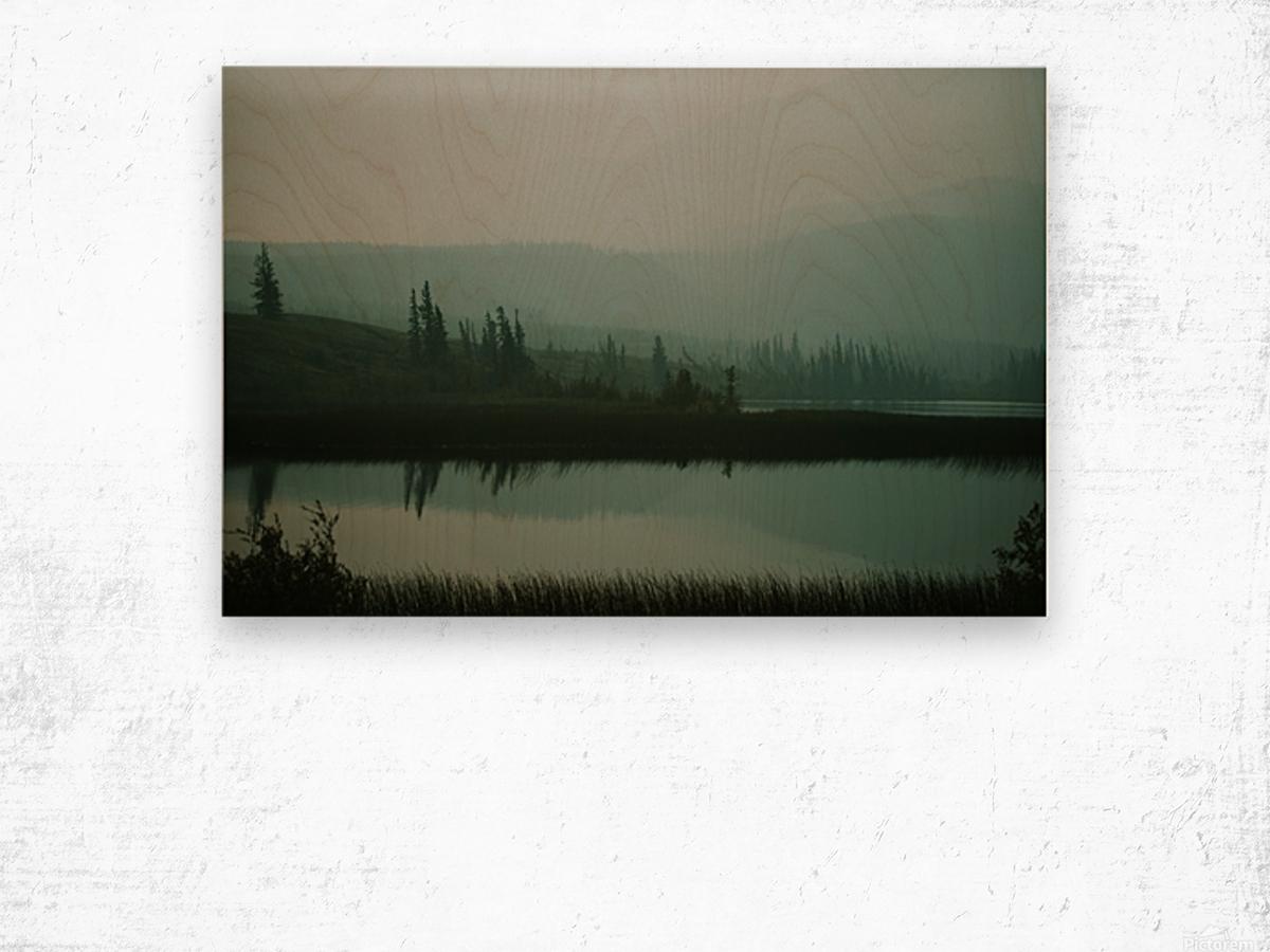 Lac brumeux Impression sur bois
