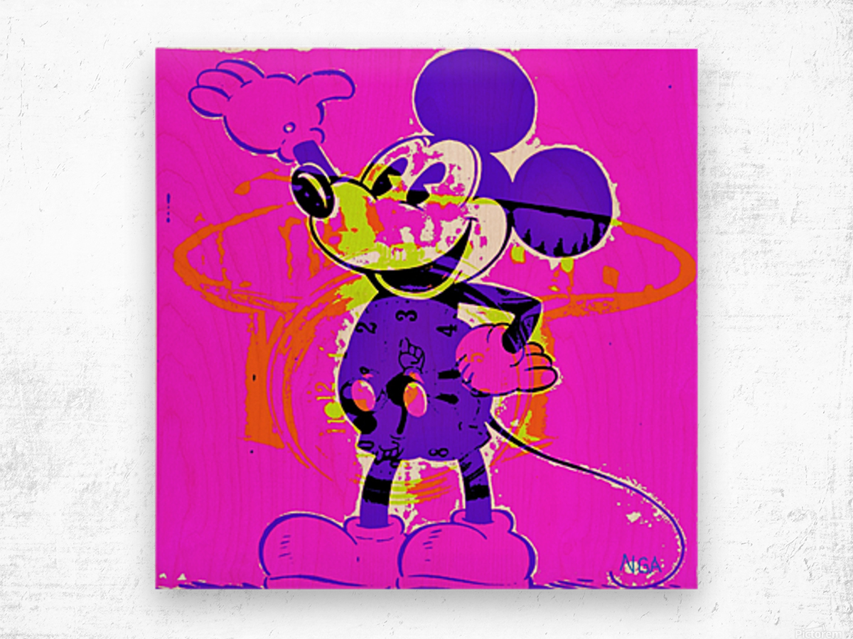 Mickey Mouse - by Neil Gairn Adams Wood print