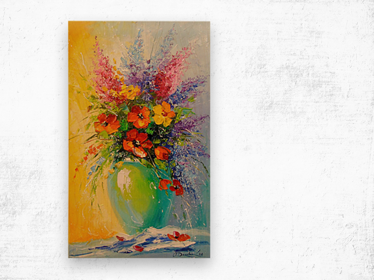 A bouquet of meadow flowers Wood print