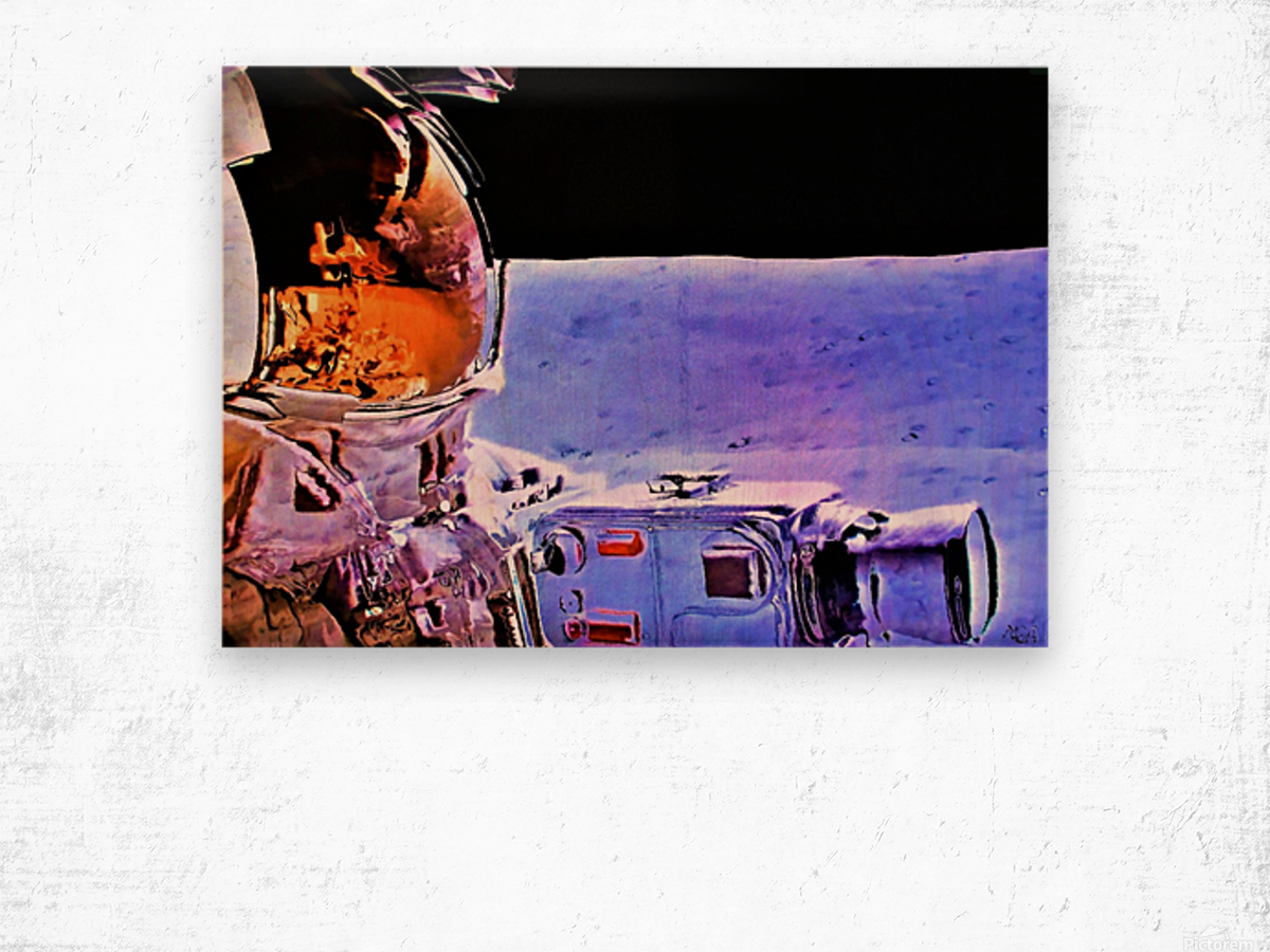 Historic Photography on the Moon - by Neil Gairn Adams Wood print