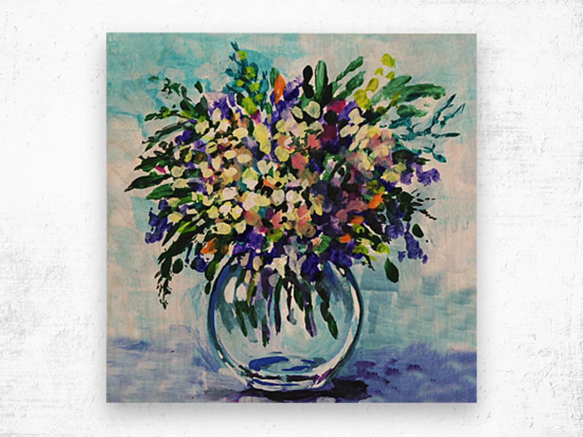 Impressionistic Flowers Burst Of Beauty Wood print