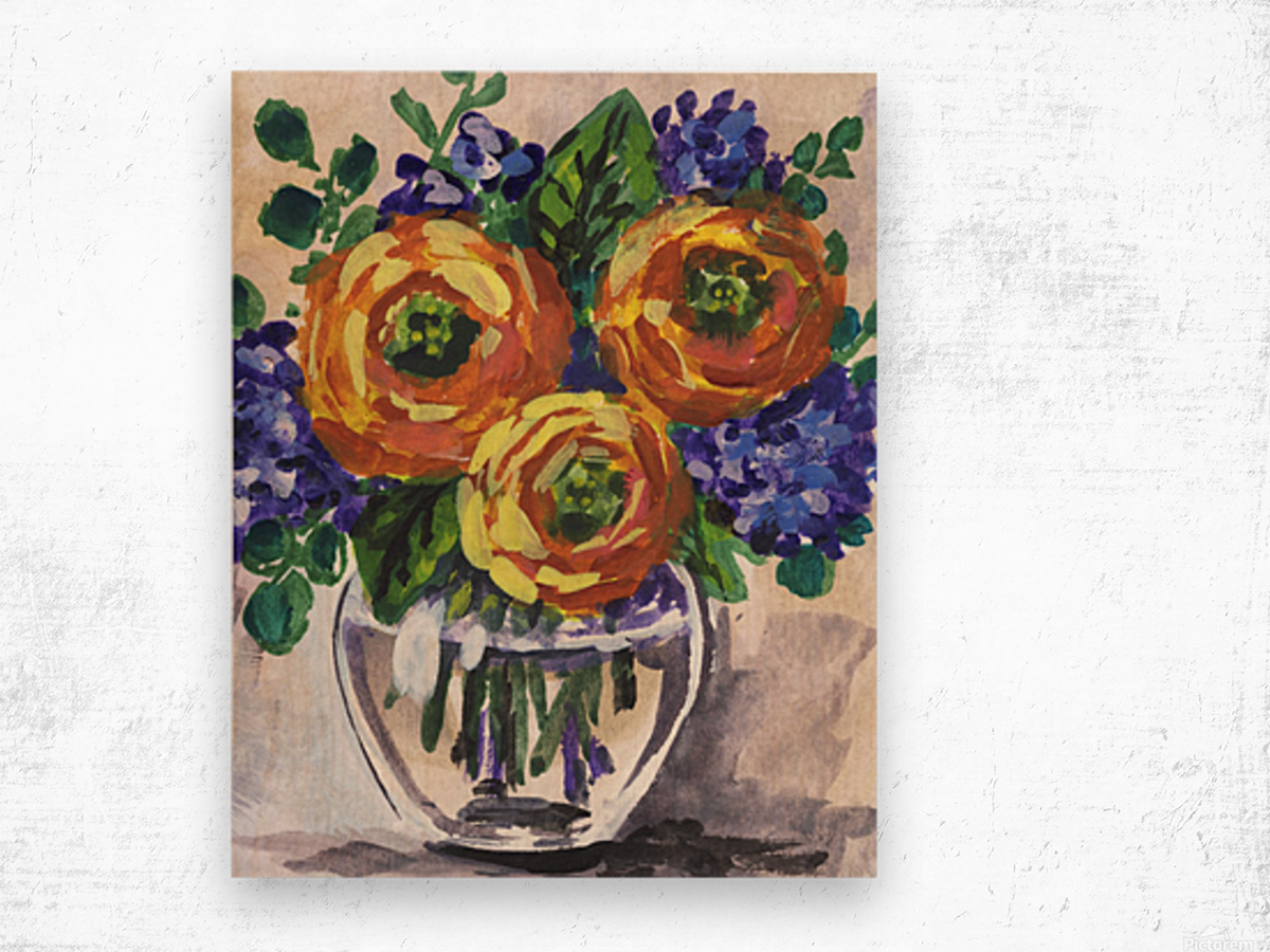 Impressionistic Flowers Warm Yellow Joy Wood print