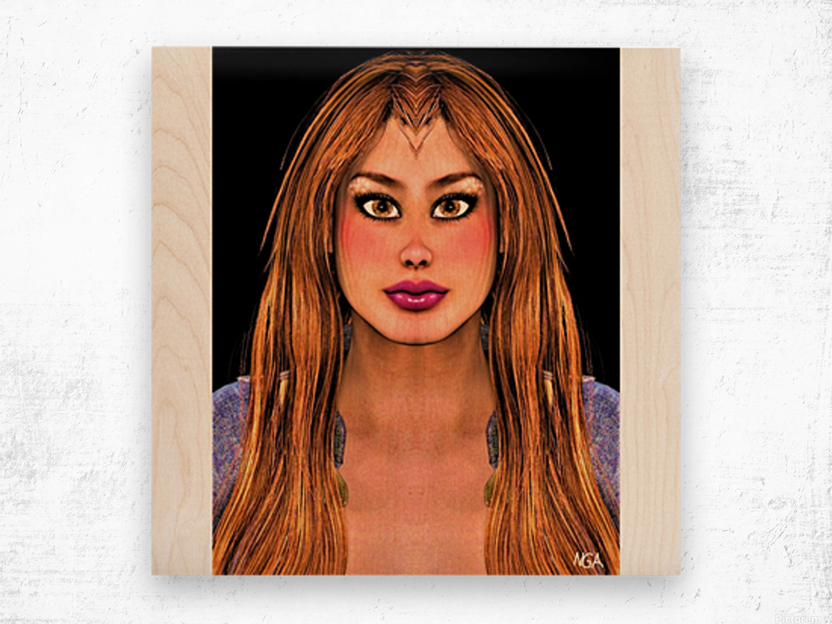 Brown Eyes - square format with with blank side border by Neil Gairn Adams Wood print