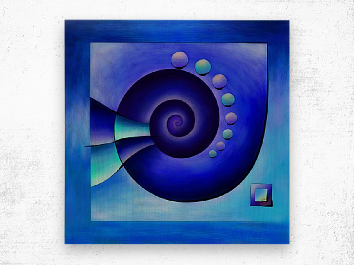 Escanissimera - endlessly limited blue spiral snail Wood print