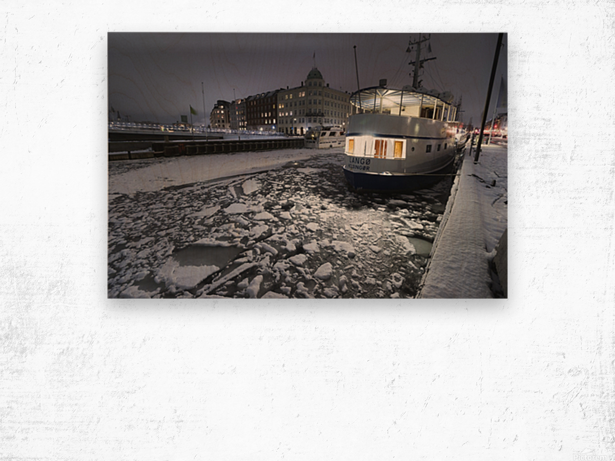 Frozen Nyhavn canal in winter Wood print
