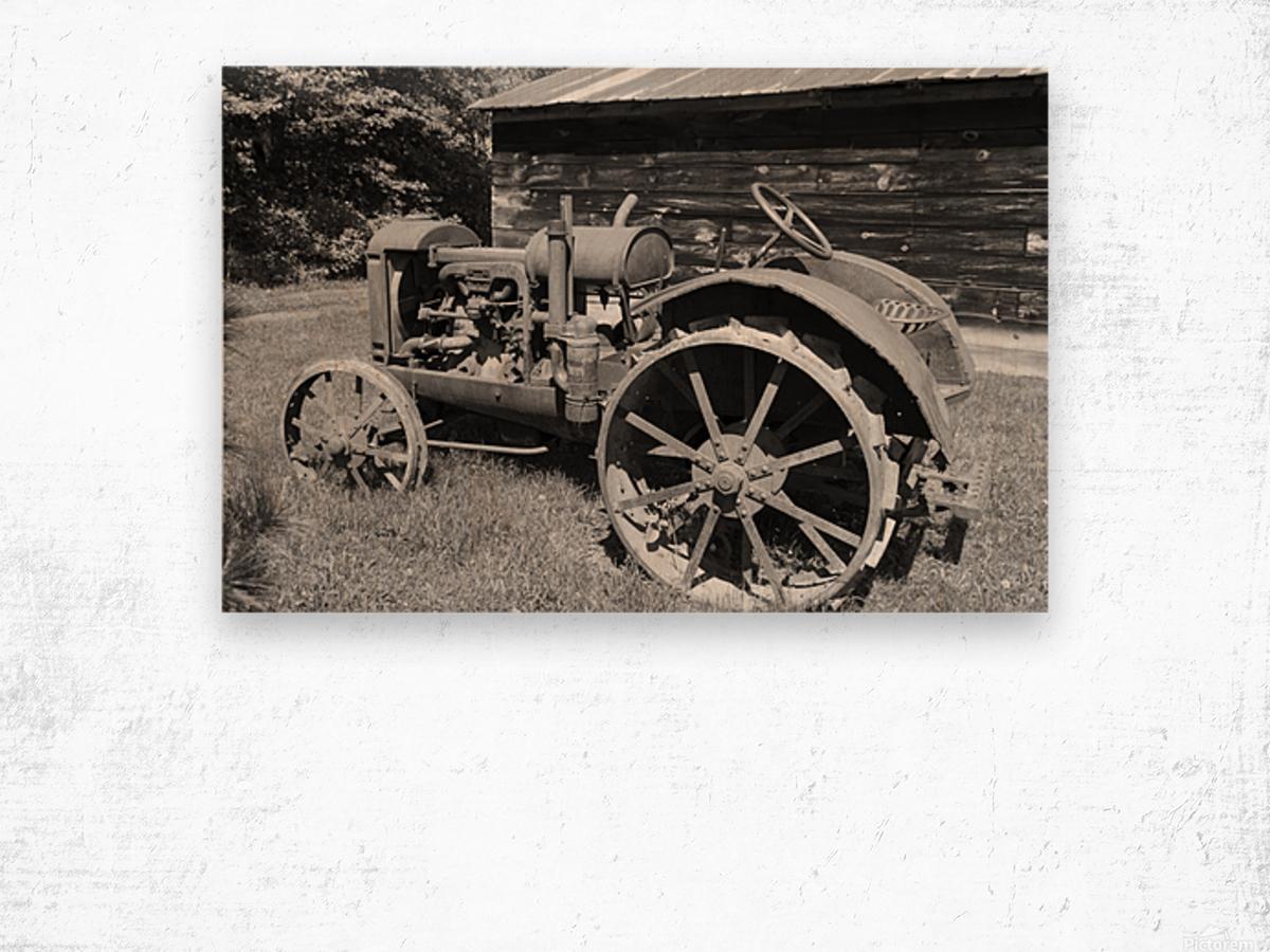 McCormick-Deering gasoline tractor 2 B&W Wood print