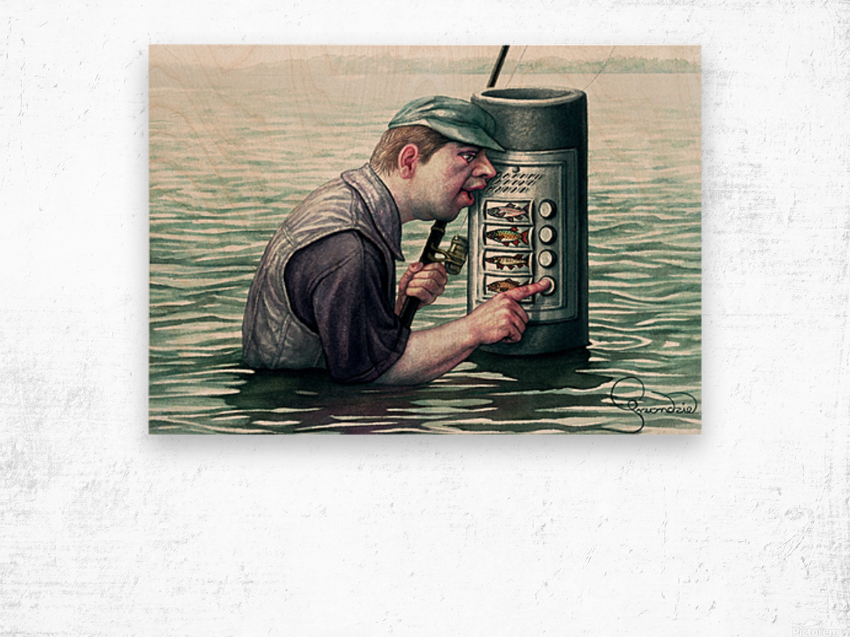 Call for fish by Krzysztof Grzondziel Wood print