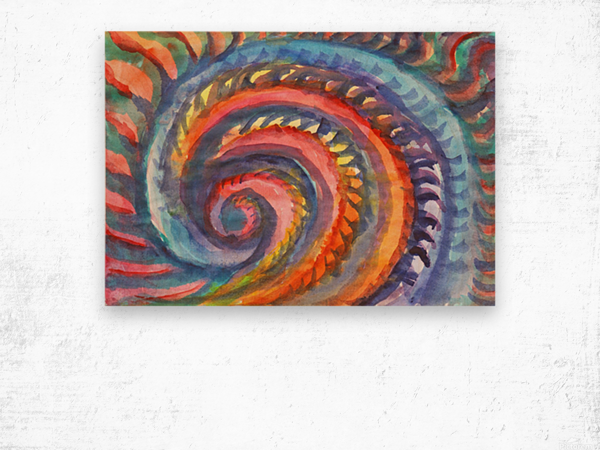 Watercolor abstract spiral staircase Wood print