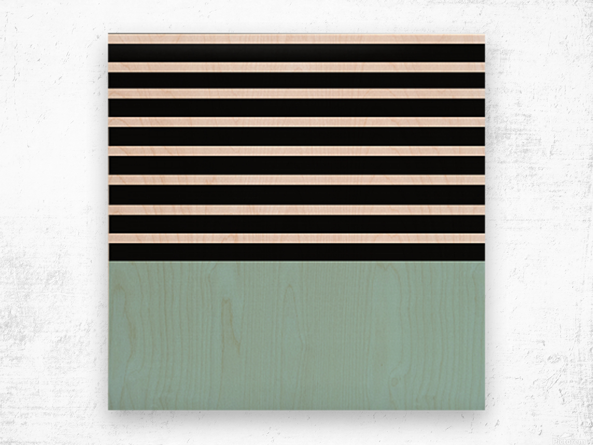Black & White Stripes with Mist Patch Wood print