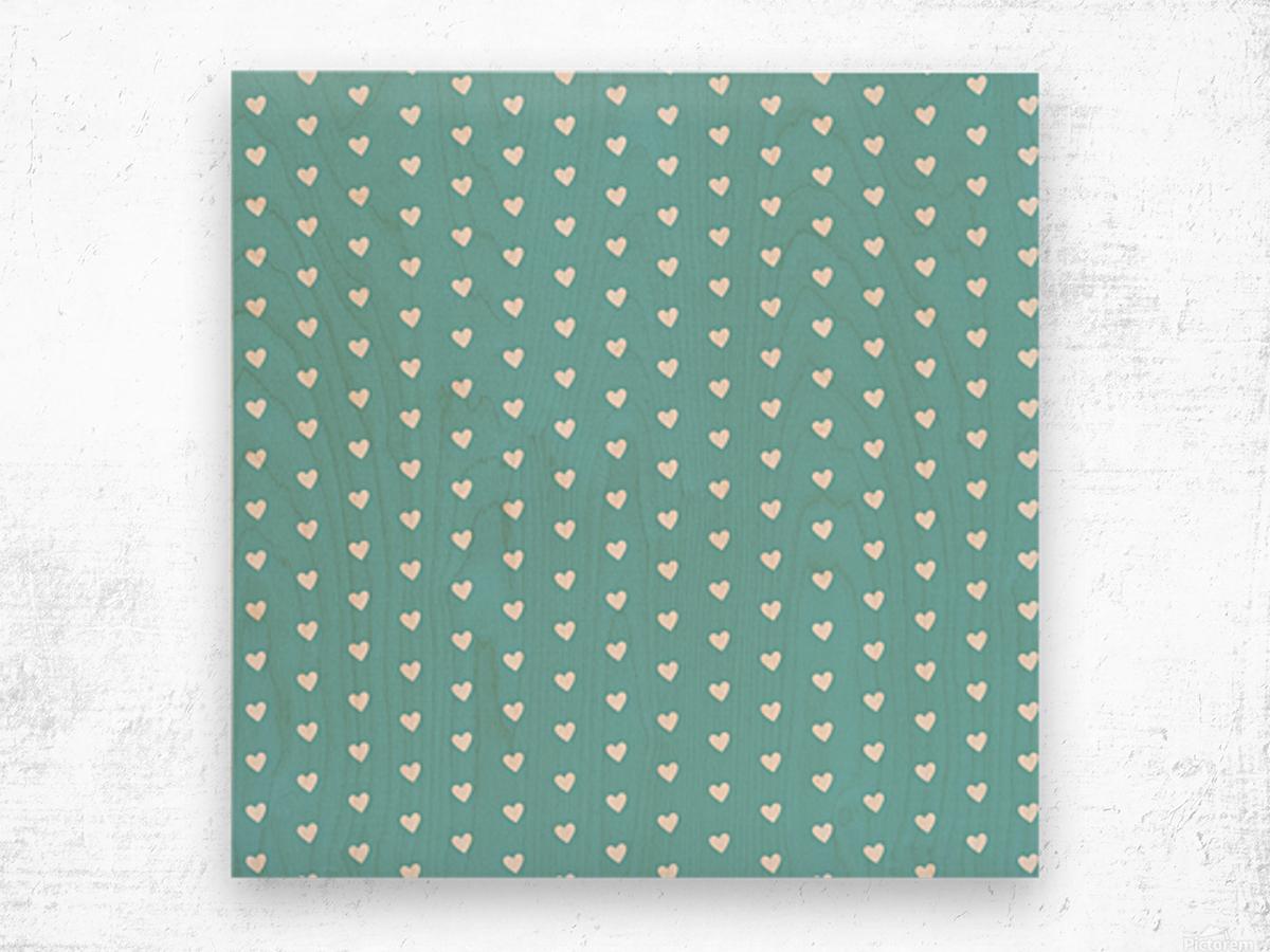 Cadet Blue Heart Shape Pattern Wood print
