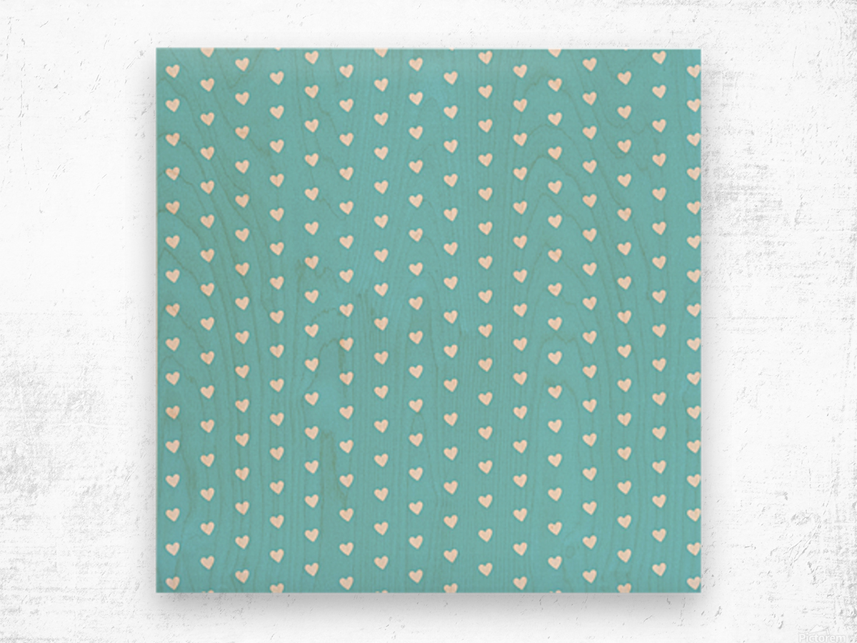 Sky Blue Heart Shape Pattern Wood print