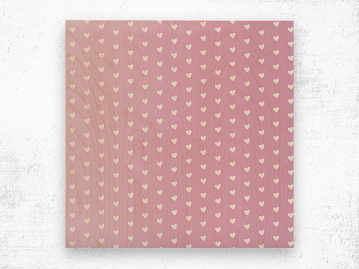 Spring Pink Heart Shape Pattern Wood print
