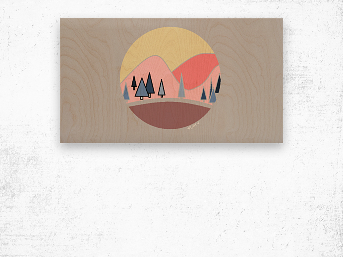 Somewhere over the Mountains Wood print