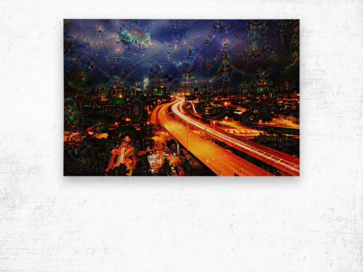 Midnight at the Ol Races Wood print