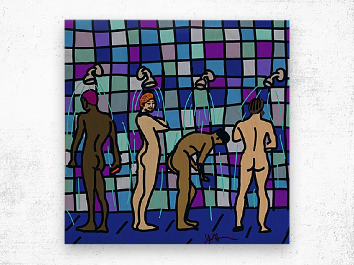 Shower Boys Wood print