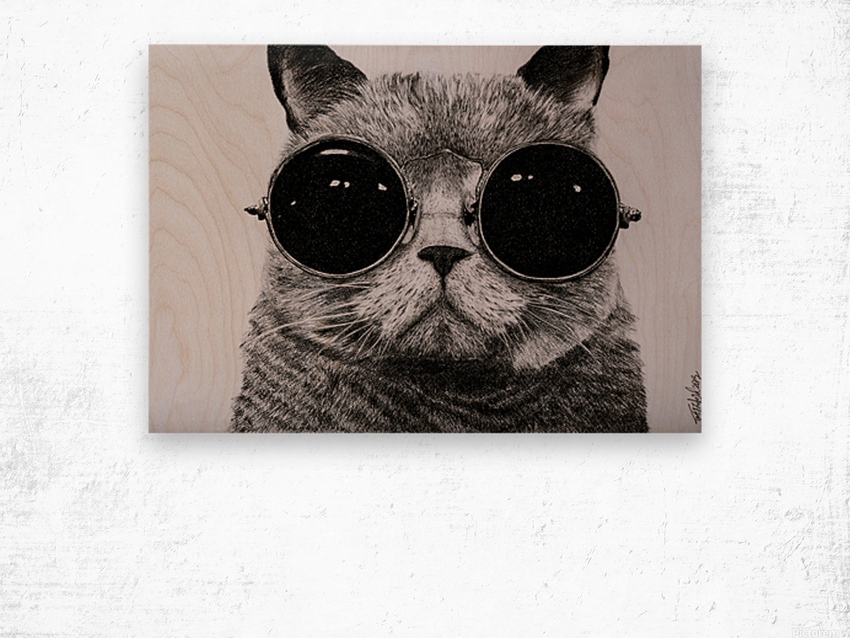 The Cat with glasses Wood print