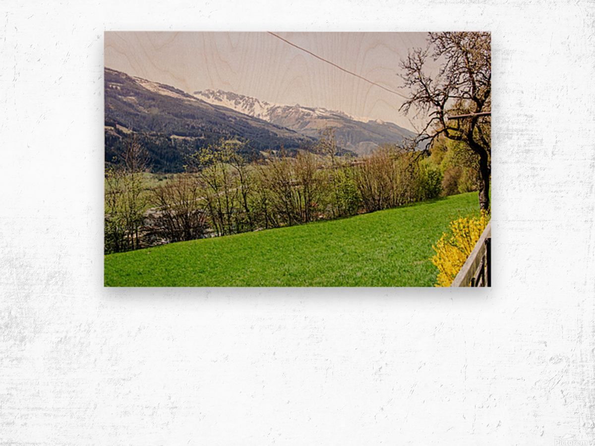 Niedernsill Landscape Austrian Alps Wood print