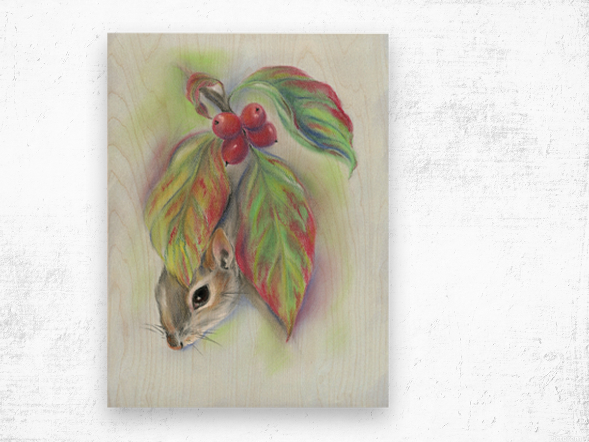 Squirrel in the Autumn Dogwood Wood print