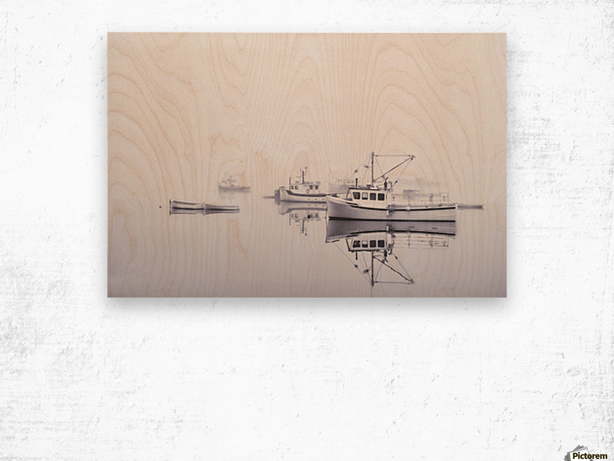 New Brunswick  Boats in the Mist Wood print