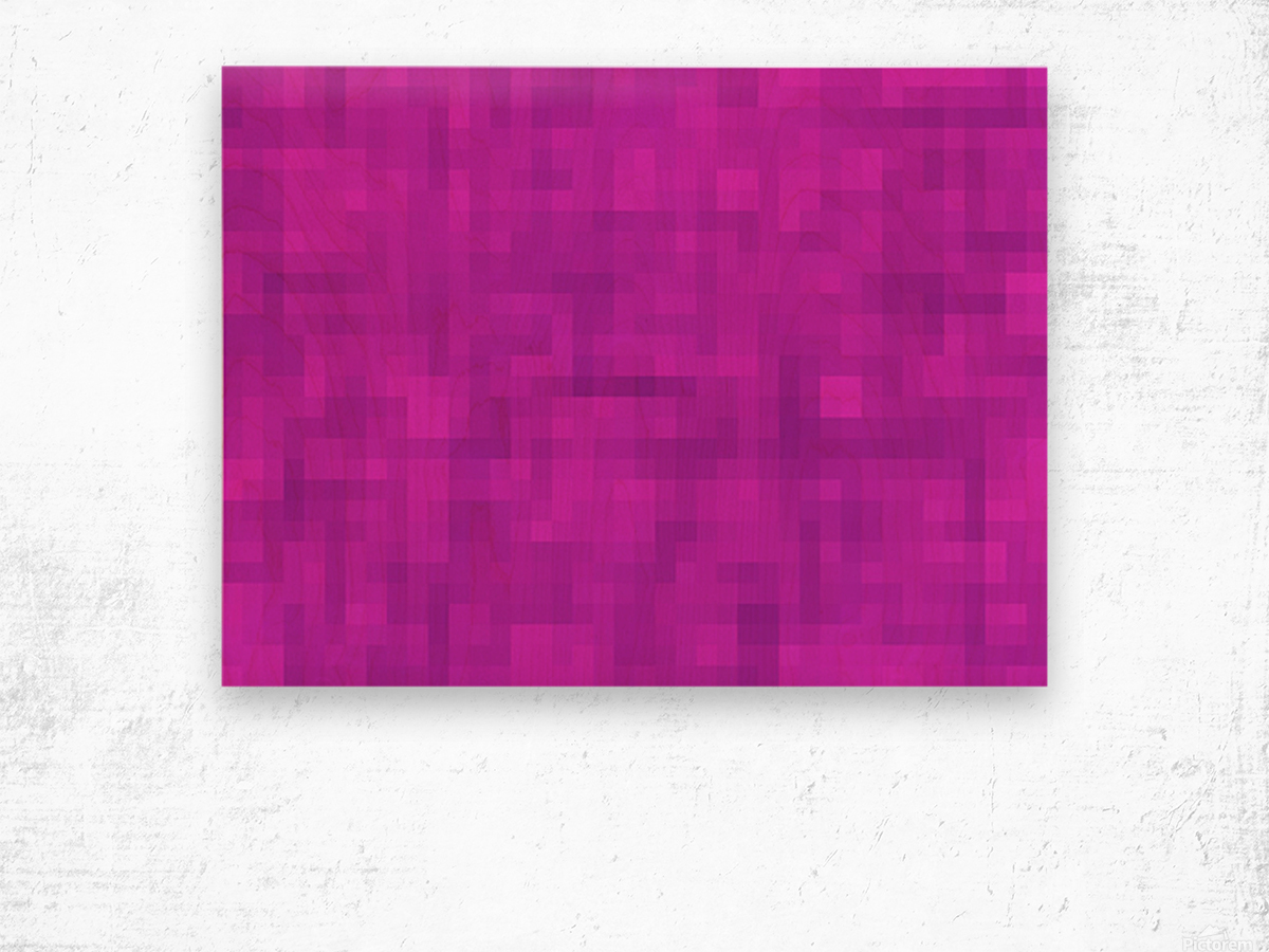 geometric square pixel pattern abstract in pink and purple Wood print