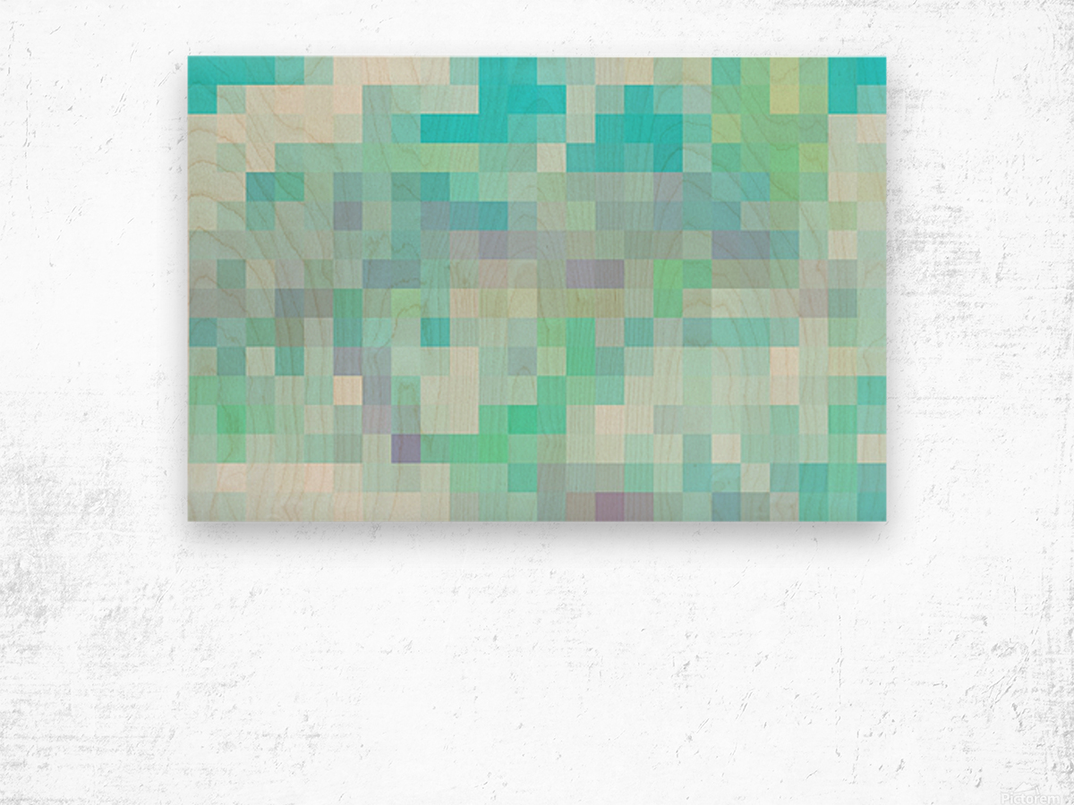 Abstract Pixel Picture -Ocean shades  Wood print