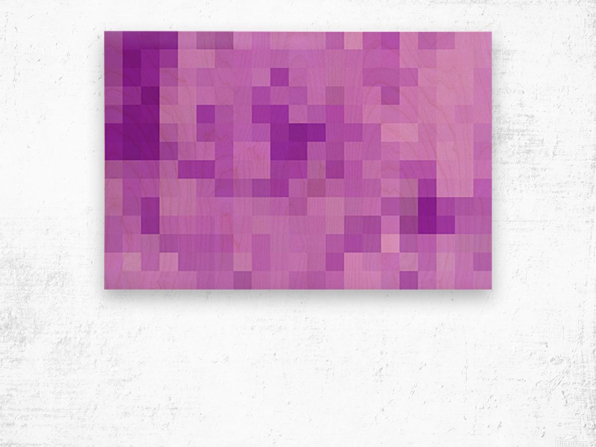Abstract Pixel Art - Purple Shades Wood print