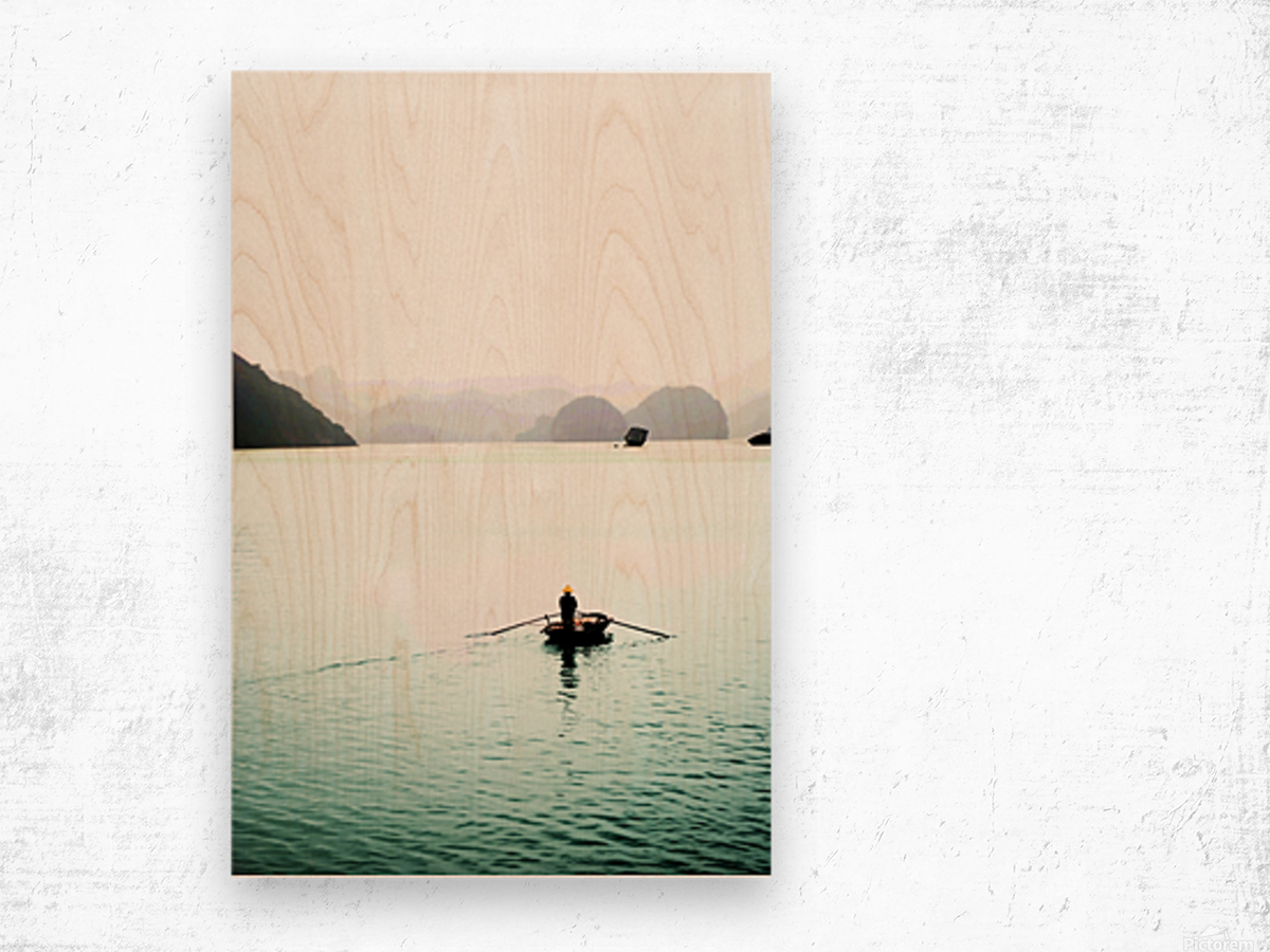 Ha Long Bay Fishing Wood print