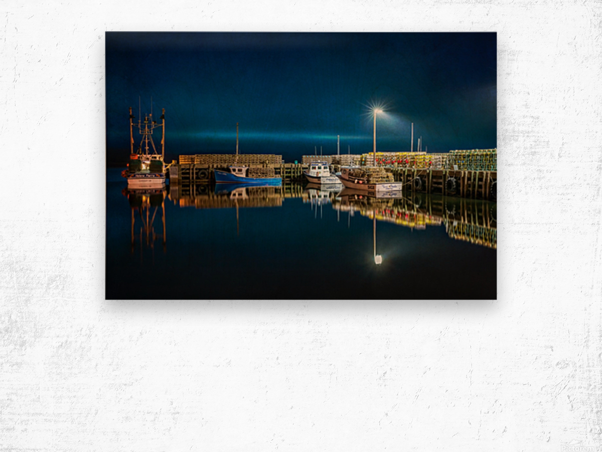 NIGHT TIME AT THE WHARF with textures Wood print