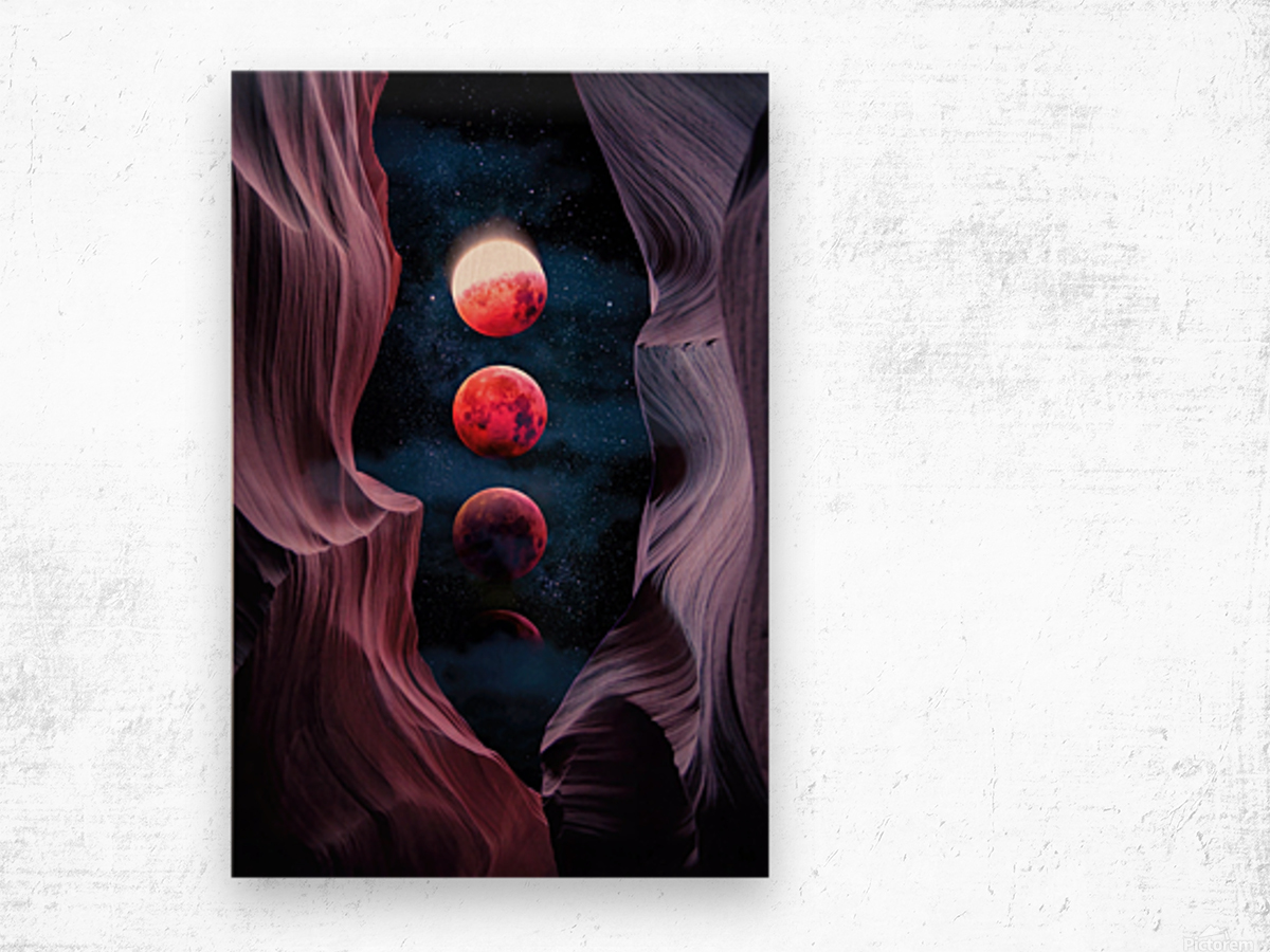 Grand Canyon with Space & Bloody Moon - Collage V Wood print